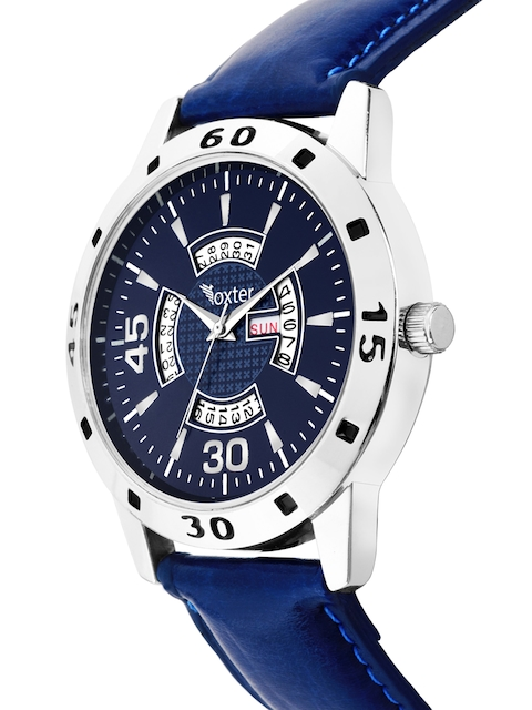 Foxter Men Blue Brass Dial & Blue Leather Straps Analogue Watch FX-435 2