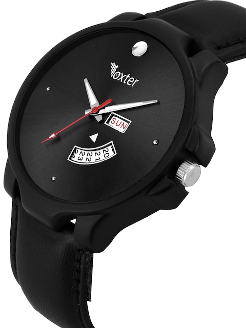Foxter Men Black Brass Dial & Leather Straps Multi-Function Analogue Watch 2