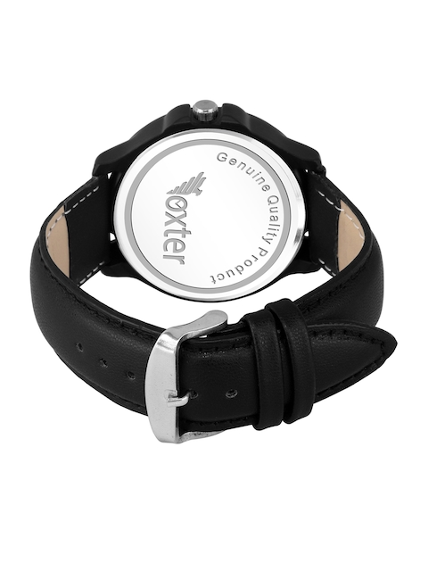 Foxter Men Black Brass Dial & Leather Straps Multi-Function Analogue Watch 3