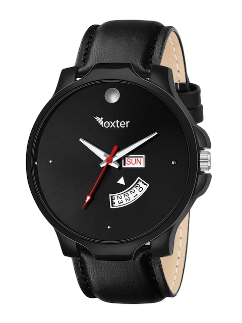 Foxter Men Black Brass Dial & Leather Straps Multi-Function Analogue Watch 1
