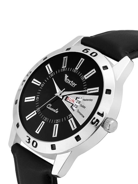 Foxter Men Black Brass Dial Multi-Function Analogue Watch 2