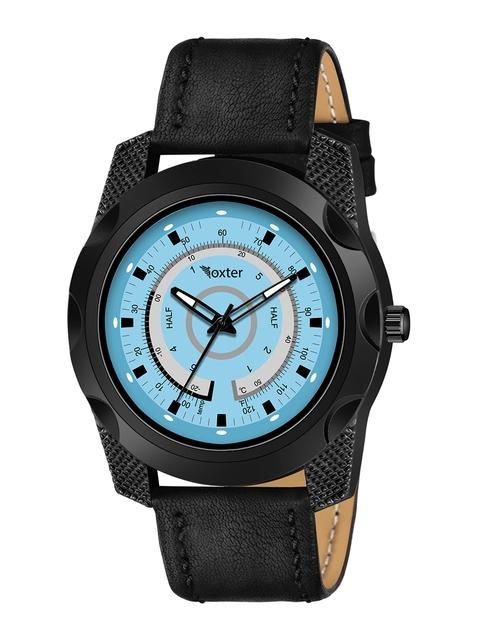 Foxter Men Blue Brass Dial & Black Leather Straps Analogue Watch FX-544 1