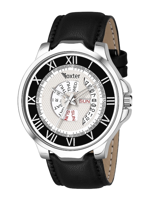 Foxter Men White Brass Printed Dial & Black Leather Straps Analogue Watch 1
