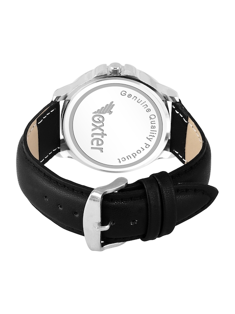 Foxter Men White Brass Printed Dial & Black Leather Straps Analogue Watch 3