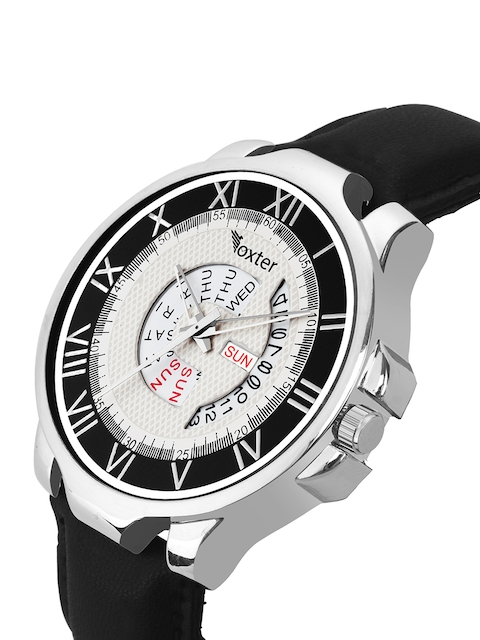 Foxter Men White Brass Printed Dial & Black Leather Straps Analogue Watch 2