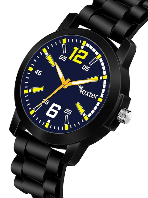 Foxter Men Blue Brass Dial & Black Leather Bracelet Style Straps Analogue Watch FX-504 2
