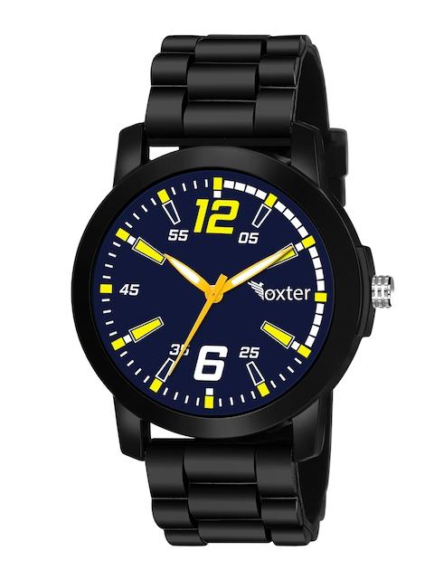 Foxter Men Blue Brass Dial & Black Leather Bracelet Style Straps Analogue Watch FX-504 1