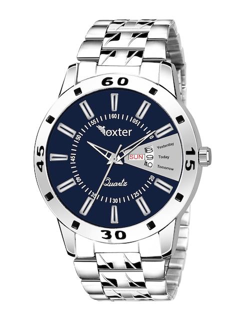 Foxter Men Blue Brass Dial & Silver Toned Bracelet Style Straps Analogue Watch FX-439 1