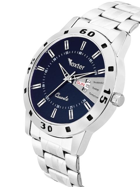 Foxter Men Blue Brass Dial & Silver Toned Bracelet Style Straps Analogue Watch FX-439 2