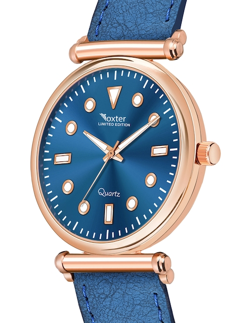 Foxter Men Blue Brass Printed Dial & Blue Leather Straps Analogue Watch FX-551 2