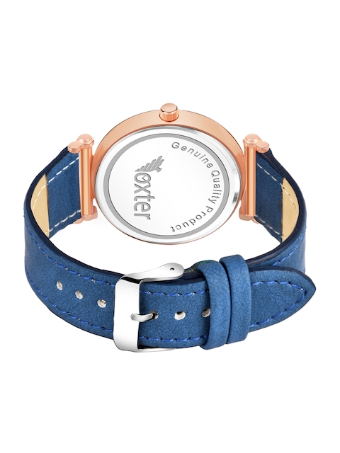 Foxter Men Blue Brass Printed Dial & Blue Leather Straps Analogue Watch FX-551 3