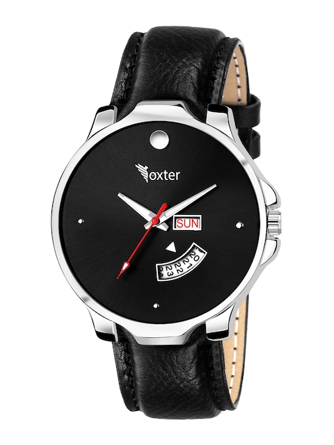 Foxter Men Black Brass Embellished Dial & Black Leather Straps Analogue Watch FX-470 1