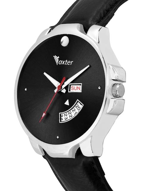 Foxter Men Black Brass Embellished Dial & Black Leather Straps Analogue Watch FX-470 2