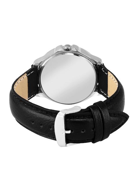 Foxter Men Black Brass Embellished Dial & Black Leather Straps Analogue Watch FX-470 3
