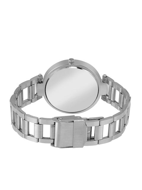 Foxter Women Black Brass Dial & Silver Toned Bracelet Style Analogue Watch 3