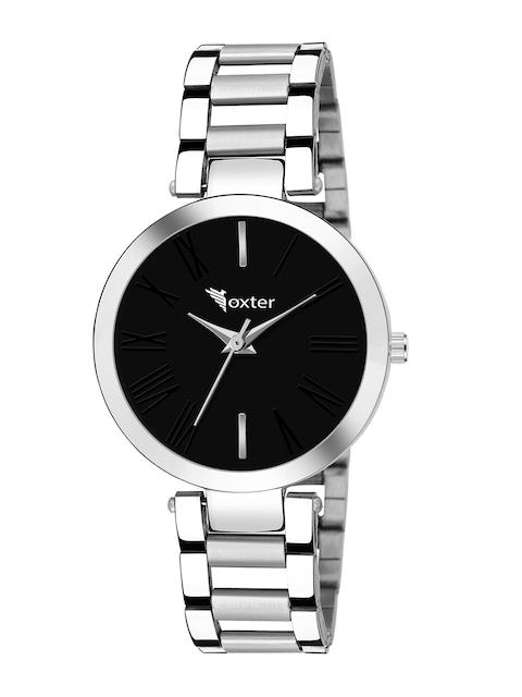 Foxter Women Black Brass Dial & Silver Toned Bracelet Style Analogue Watch 1