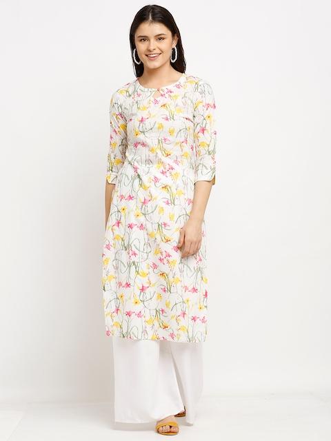 Rajnandini Women White & Yellow Floral Printed Keyhole Neck Pure Cambric Cotton Kurta 1