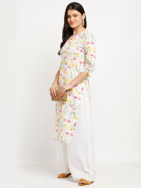 Rajnandini Women White & Yellow Floral Printed Keyhole Neck Pure Cambric Cotton Kurta 4