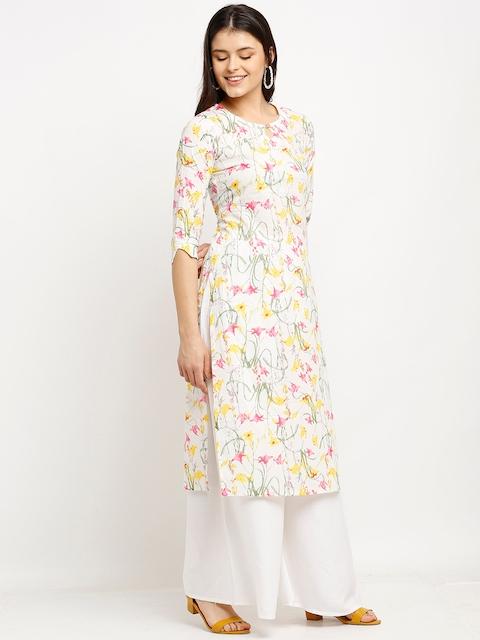 Rajnandini Women White & Yellow Floral Printed Keyhole Neck Pure Cambric Cotton Kurta 3