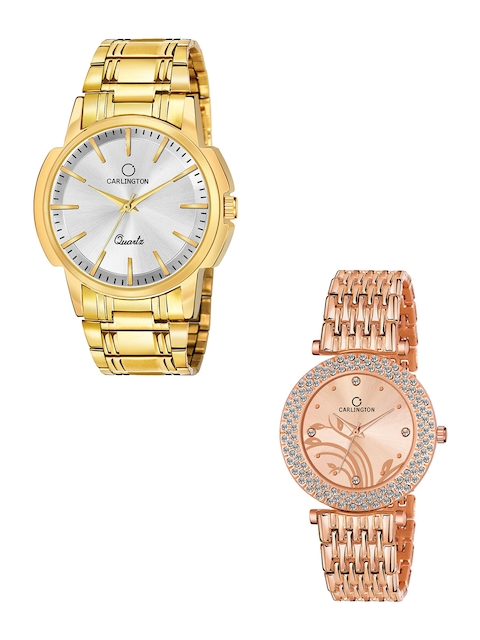 CARLINGTON Unisex Pack of 2 Analogue Watches Combo CT-6110GS and 105 RoseGold 1