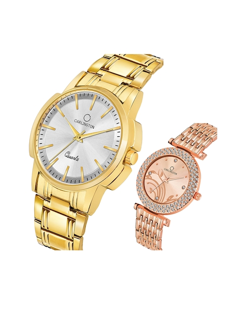 CARLINGTON Unisex Pack of 2 Analogue Watches Combo CT-6110GS and 105 RoseGold 2
