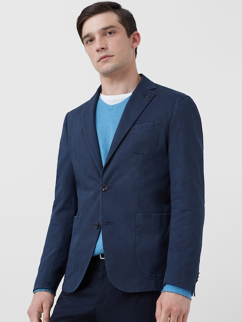 H.E. By Mango Navy Single-Breasted Casual Blazer