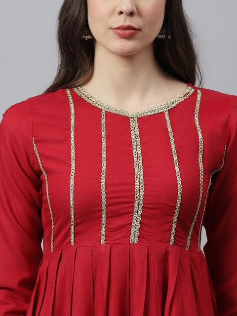 Stylum Women Red Yoke Design Pleated Thread Work Kurta with Dhoti Pants 2