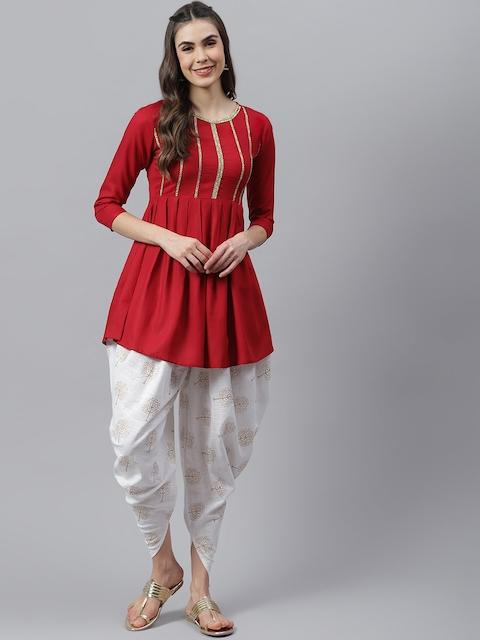 Stylum Women Red Yoke Design Pleated Thread Work Kurta with Dhoti Pants 1