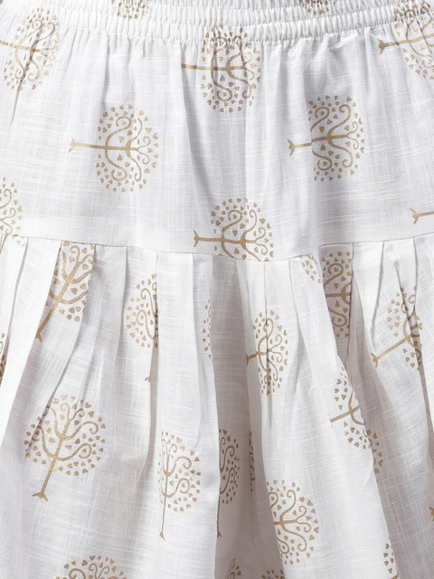 Stylum Women Red Yoke Design Pleated Thread Work Kurta with Dhoti Pants 3