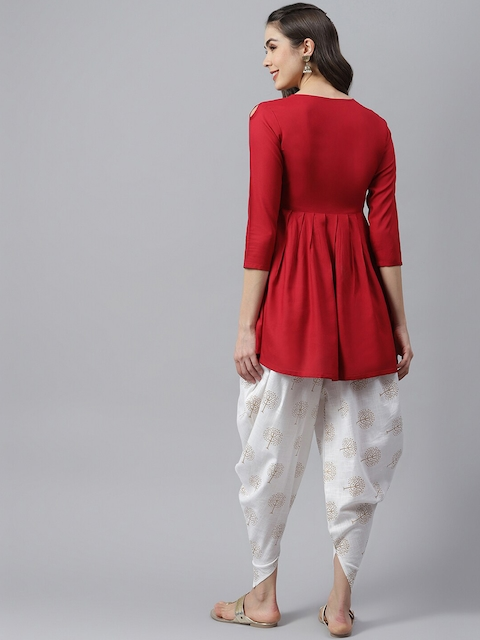 Stylum Women Red Yoke Design Pleated Thread Work Kurta with Dhoti Pants 5