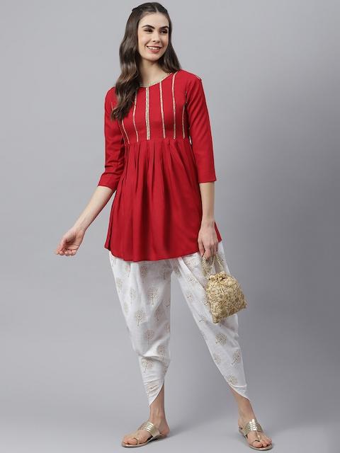 Stylum Women Red Yoke Design Pleated Thread Work Kurta with Dhoti Pants 6