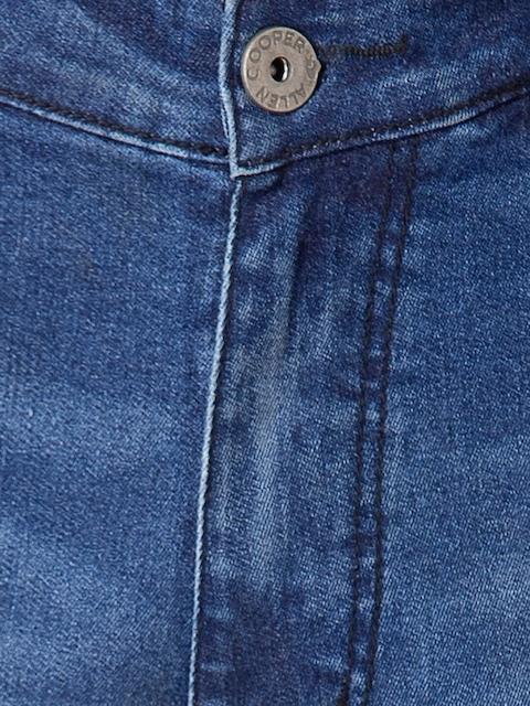 Allen Cooper Men Navy Blue Slim Fit Heavy Fade Jeans 5