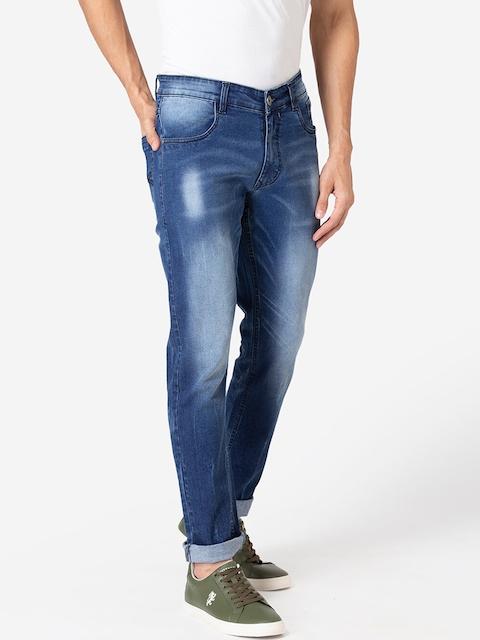Allen Cooper Men Navy Blue Slim Fit Heavy Fade Jeans 2