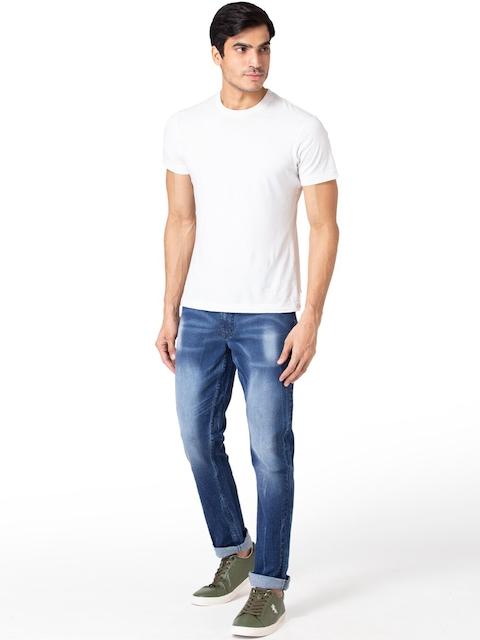 Allen Cooper Men Navy Blue Slim Fit Heavy Fade Jeans 4