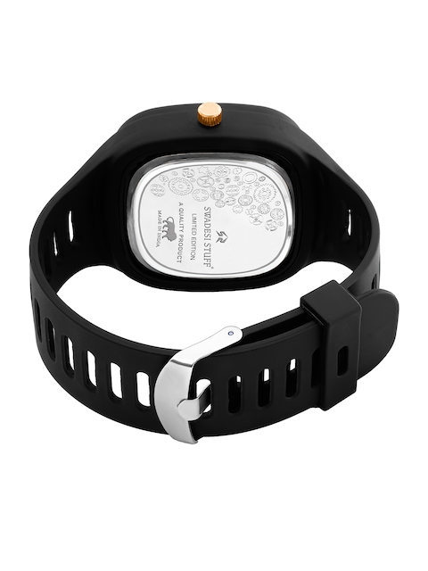 SWADESI STUFF Unisex Black Dial & Black Straps Analogue Watch 6 CRONO BLACK 3