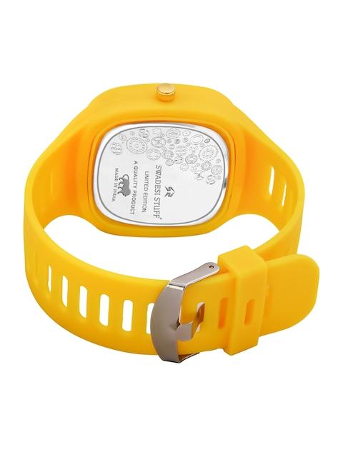 SWADESI STUFF Unisex Yellow Dial & Yellow Straps Analogue Watch 6 CRONO YELLOW 3