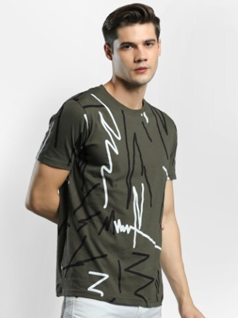 Maniac Men Olive Green Printed T-shirt 3