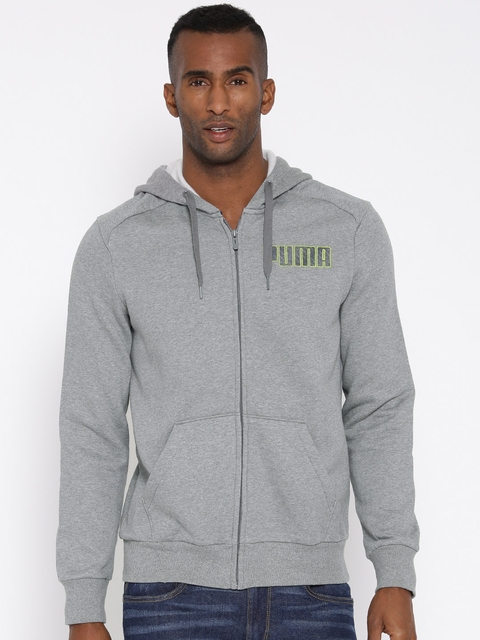 610527fe6486e1 Puma Men Grey Melange ITS Solid Front Open Hooded Sweatshirt