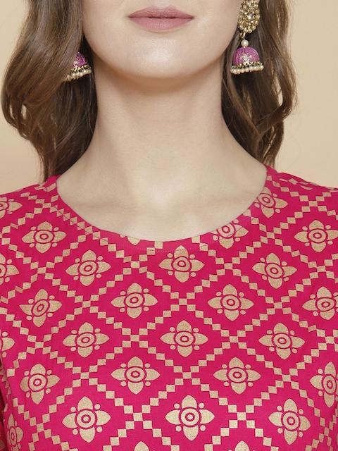 GoSriKi Women Pink Printed Regular Pure Cotton Kurta with Trousers & With Dupatta 2
