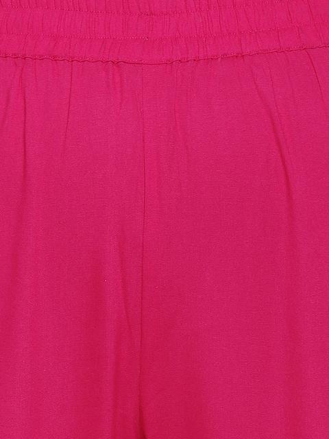 GoSriKi Women Pink Printed Regular Pure Cotton Kurta with Trousers & With Dupatta 3