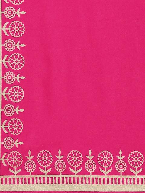GoSriKi Women Pink Printed Regular Pure Cotton Kurta with Trousers & With Dupatta 4