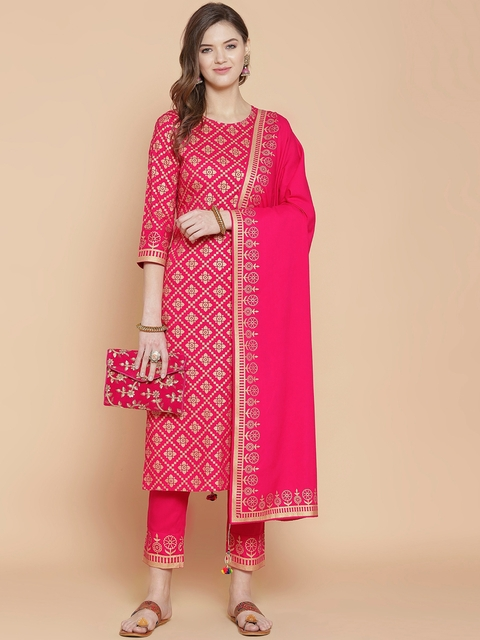GoSriKi Women Pink Printed Regular Pure Cotton Kurta with Trousers & With Dupatta 7