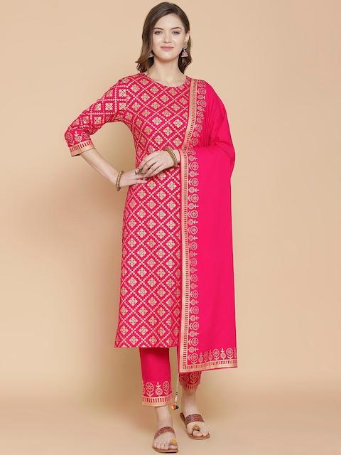 GoSriKi Women Pink Printed Regular Pure Cotton Kurta with Trousers & With Dupatta 1