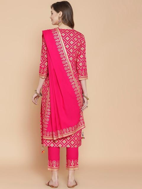 GoSriKi Women Pink Printed Regular Pure Cotton Kurta with Trousers & With Dupatta 6
