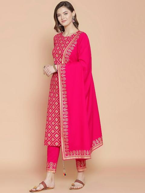 GoSriKi Women Pink Printed Regular Pure Cotton Kurta with Trousers & With Dupatta 5