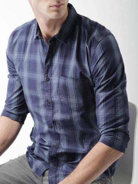 HIGHLANDER Men Blue Slim Fit Checked Casual Shirt