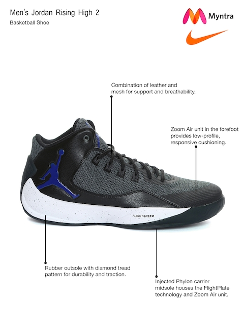 ... Nike Men Black Charcoal Grey Jordan Rising High 2 Basketball Shoes  Price in India 8ddc9d937