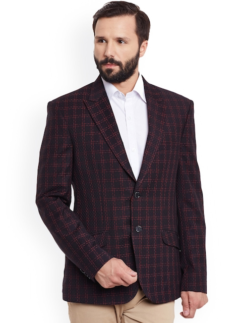 Canary London Black & Red Checked Single-Breasted Casual Blazer