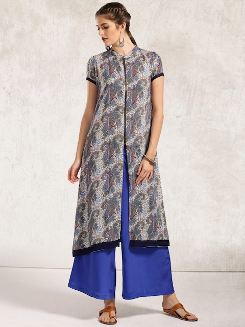 Anouk Women Blue Printed Straight Kurta