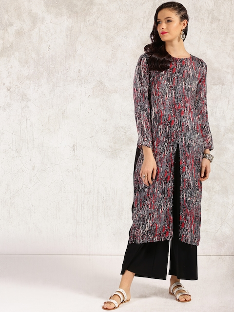 Anouk Women Black & Grey Woven Design Straight Kurta